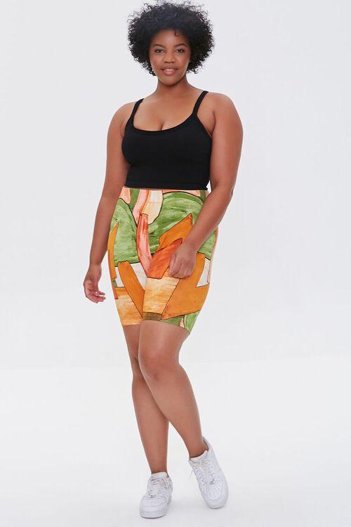 Plus Size Geo Print Biker Shorts, image 5