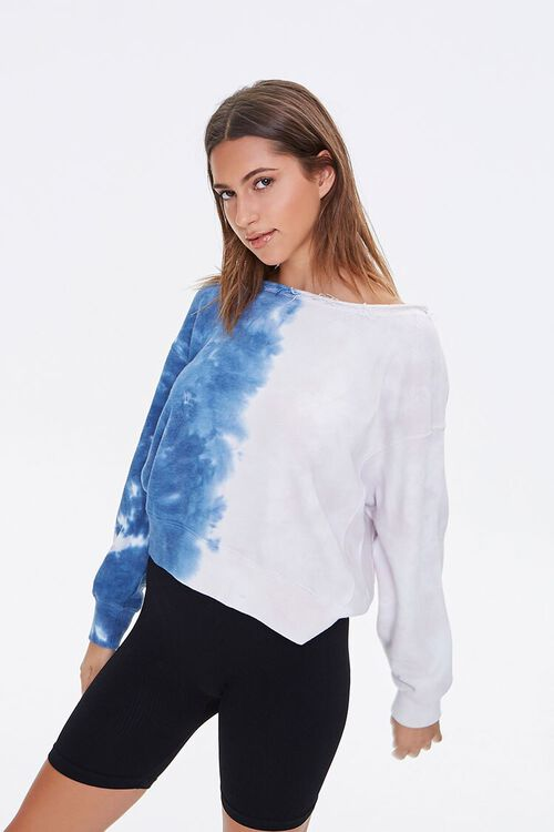 BLUE/CREAM French Terry Tie-Dye Pullover, image 1