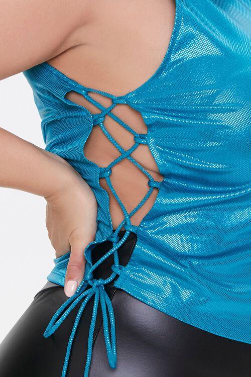 Plus Size Metallic Lace-Up Crop Top, image 5