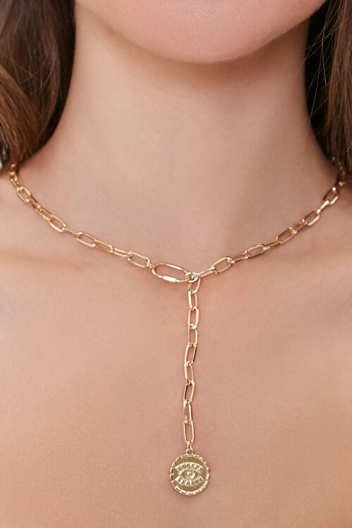 GOLD Eye Pendant Drop Chain Necklace, image 1