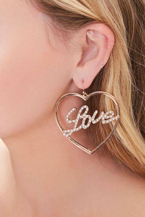 Love Heart Pendant Hoop Earrings, image 1