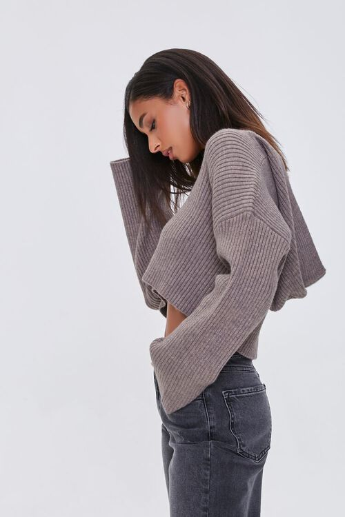 Cropped Ribbed Hooded Sweater, image 2