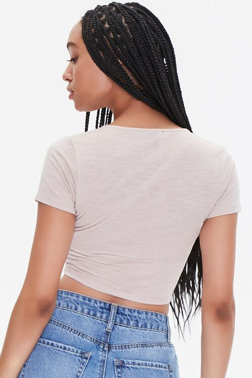 Plunging Ruched Drawstring Tee, image 3