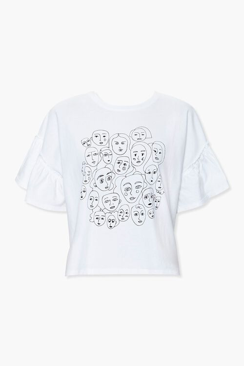Ruffle-Trim Face Graphic Tee, image 1