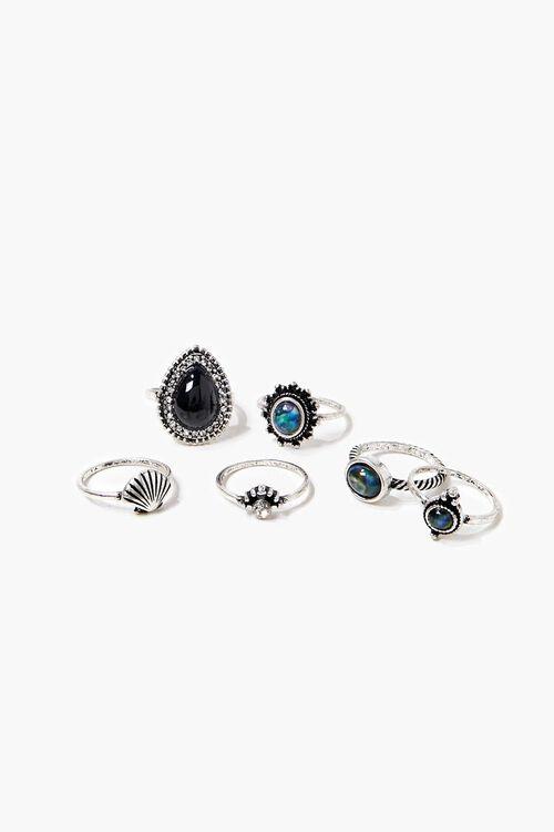 SILVER Seashell Charm Ring Set, image 1