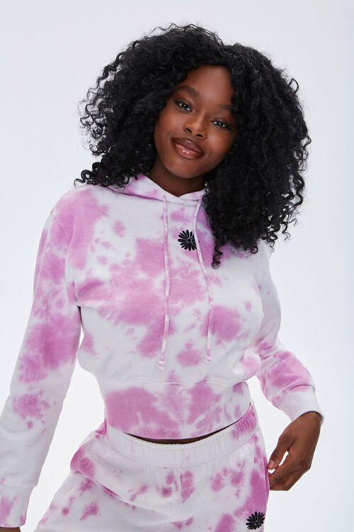 WHITE/PINK Tie-Dye Floral Hoodie, image 2