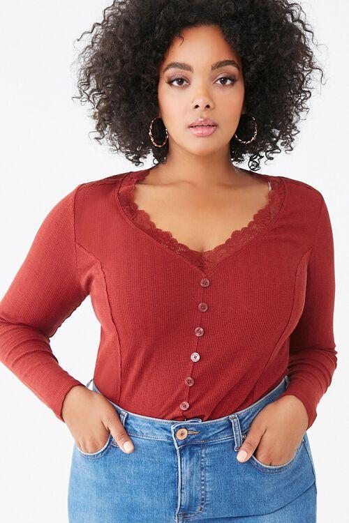 Plus Size Lace-Trim Top, image 1