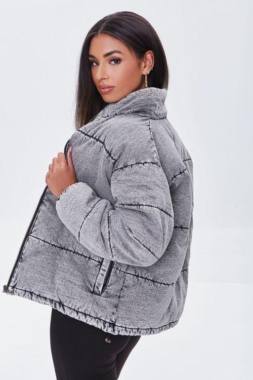 WASHED BLACK Denim Zip-Up Puffer Jacket, image 2