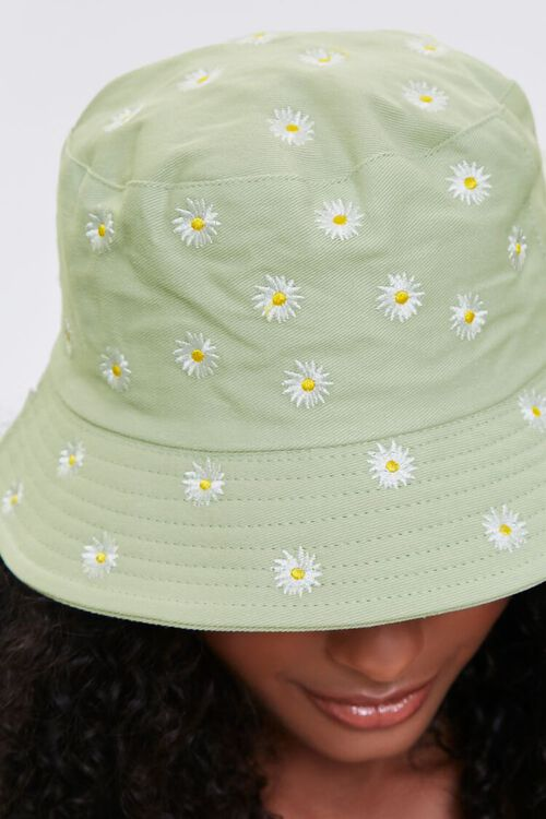 Embroidered Daisy Print Bucket Hat, image 2