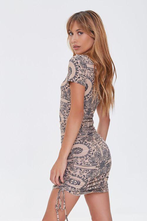 CAMEL/BLACK Ornate Bodycon Mini Dress, image 2