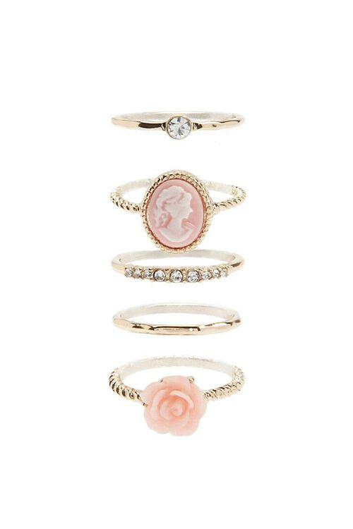 GOLD/PINK Rose & Portrait Ring Set, image 1