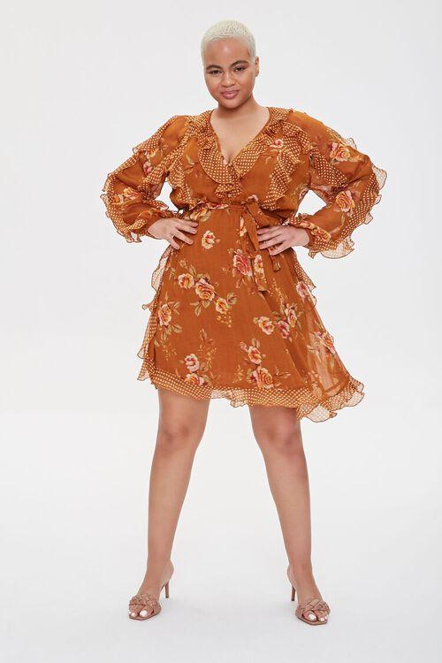 Plus Size Ruffled Rose Print Dress, image 4