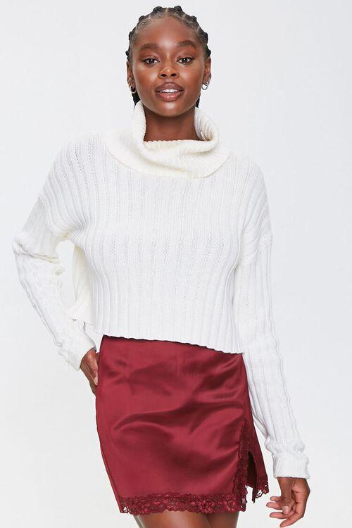 Satin Lace-Trim Mini Skirt, image 1