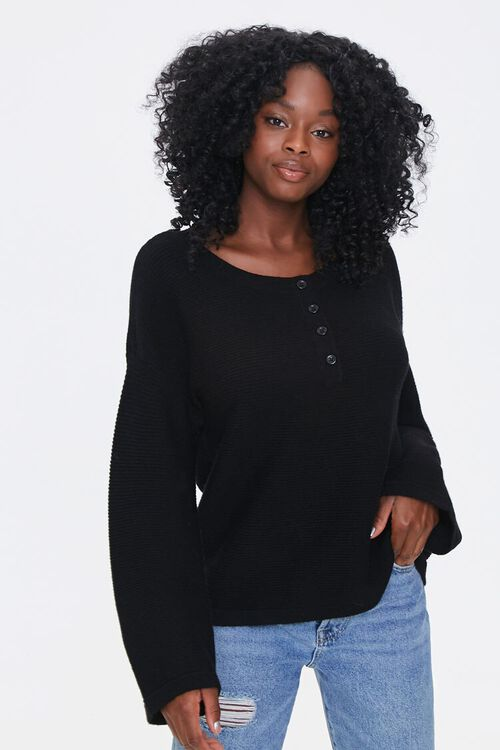 Sweater-Knit Henley Top, image 1