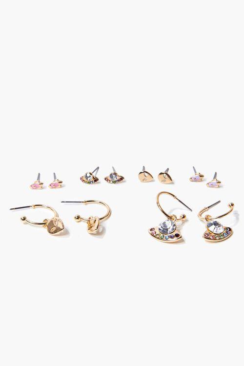 Alien Charm Hoop & Stud Earring Set, image 1