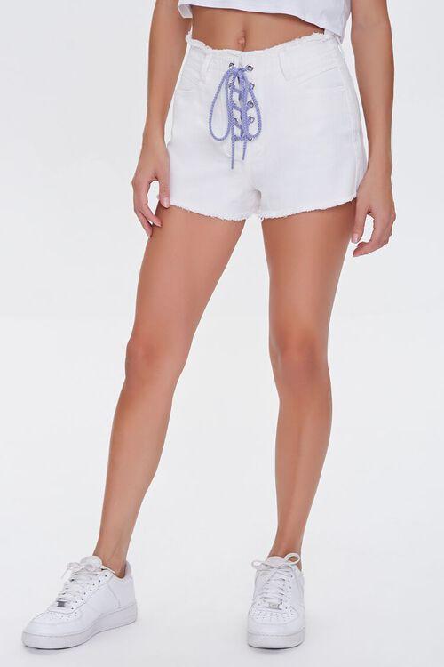 Lace-Up Denim Shorts, image 2