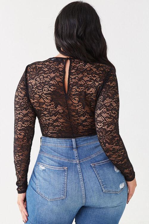 Plus Size Floral Lace Bodysuit, image 3