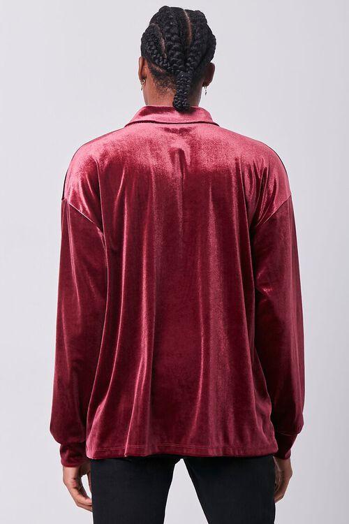 BURGUNDY Velour Long Sleeve Polo, image 3