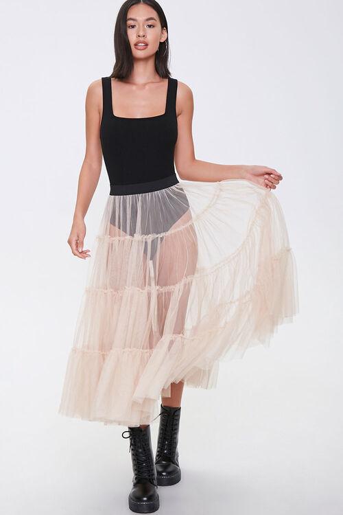 Sheer Tiered Midi Skirt, image 1