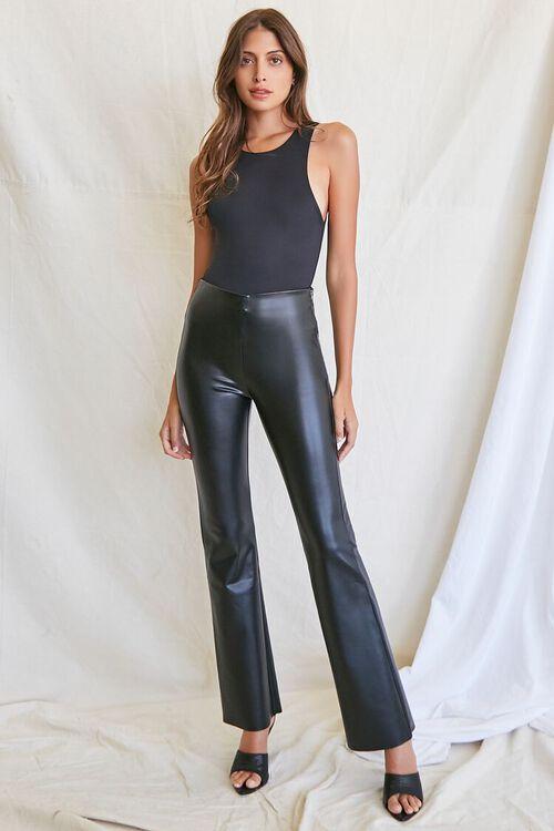 BLACK Faux Leather Flare Pants, image 5
