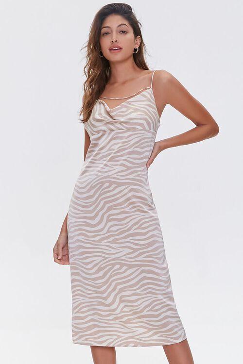 Zebra Print Cowl Dress, image 1
