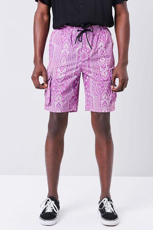 Bandana Print Drawstring Cargo Shorts, image 2