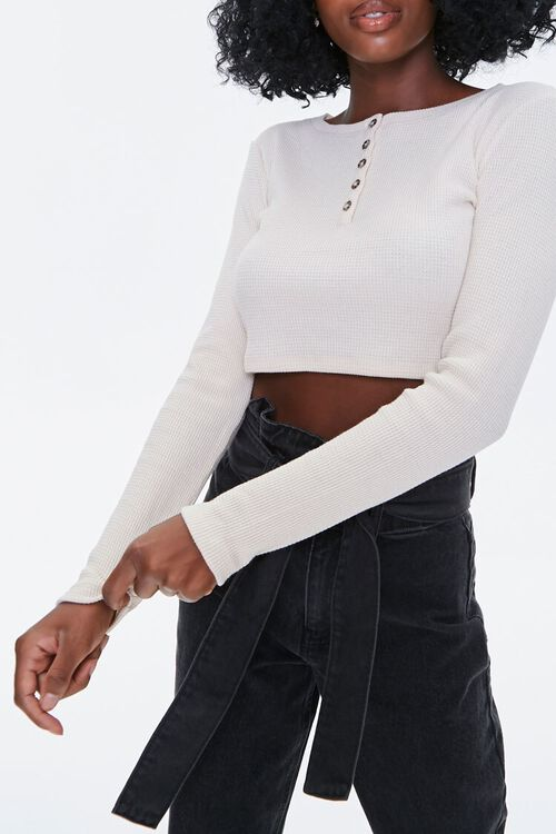 Waffle Knit Henley Crop Top, image 1