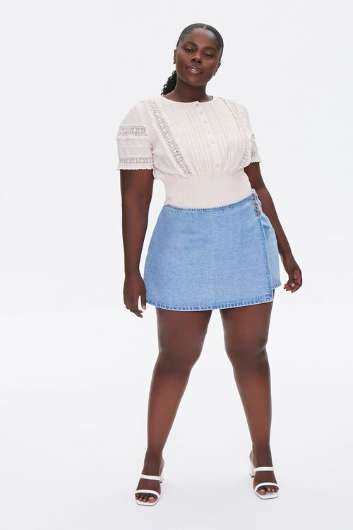 CHAMPAGNE Plus Size Pintucked Lace-Trim Top, image 4