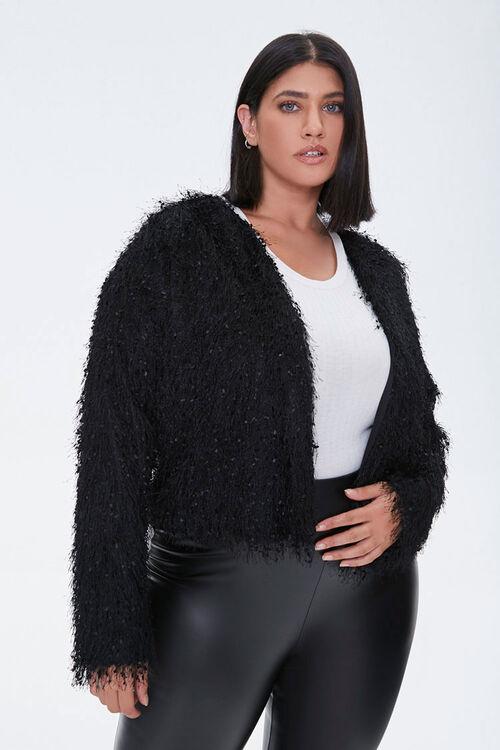 Plus Size Shaggy Open-Front Jacket, image 1