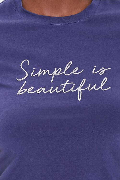 BLUE/WHITE Simple Is Beautiful Graphic Tee, image 5