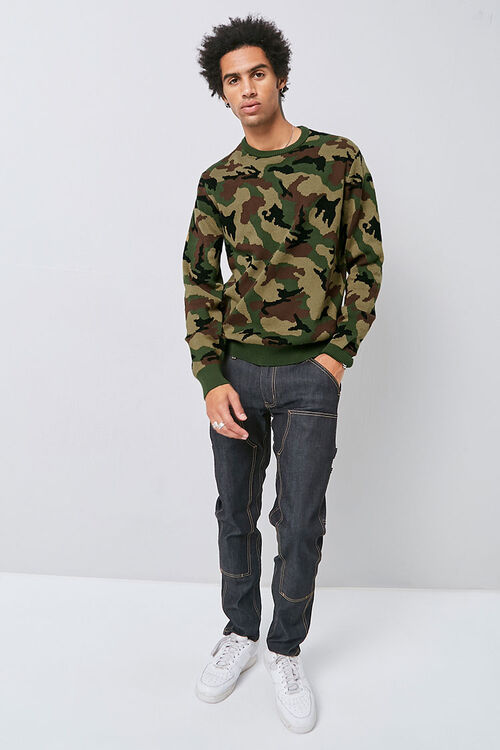 Crew Neck Camo Knit Sweater, image 4