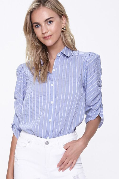 BLUE/WHITE Striped Ruched-Sleeve Shirt, image 1