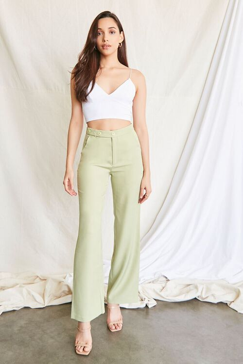 GREEN Buttoned Wide-Leg Pants, image 1