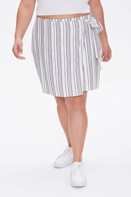 Plus Size Linen-Blend Striped Skirt, image 2