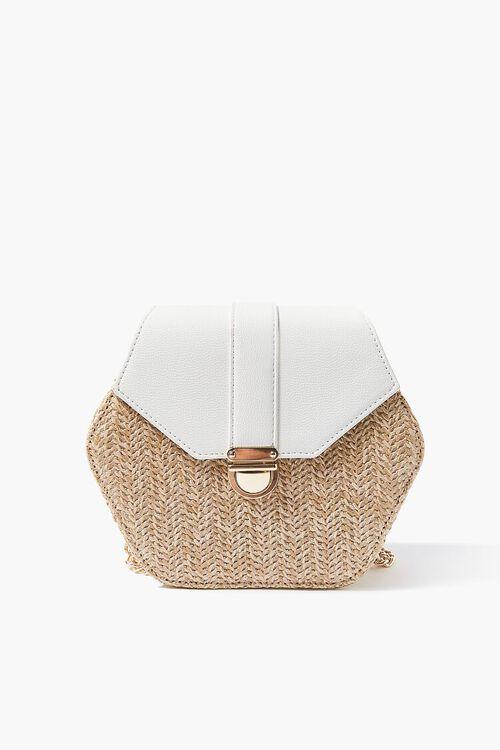 WHITE Basketwoven Hexagon Crossbody Bag, image 2