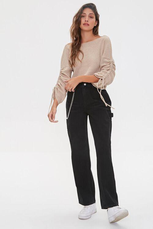 Shadow-Striped Drawstring Sweater, image 4