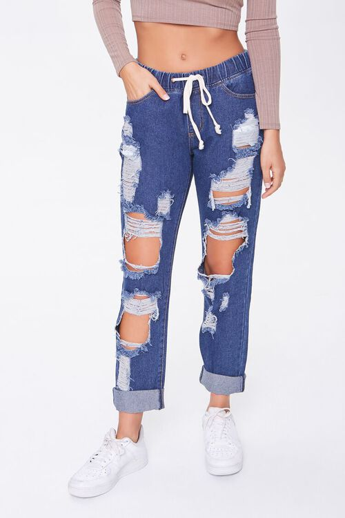 Destroyed Drawstring Jeans, image 1