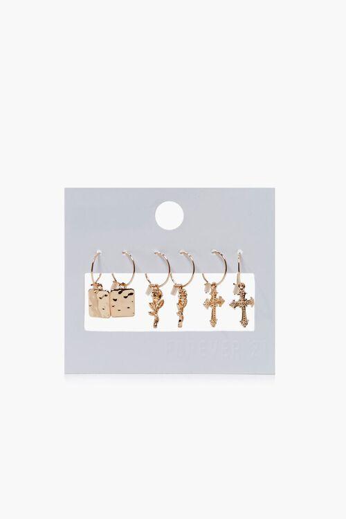 GOLD Cross Charm Hoop Earring Set, image 1