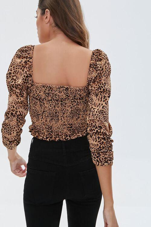 TAN/BLACK Ruched Leopard Print Crop Top, image 3