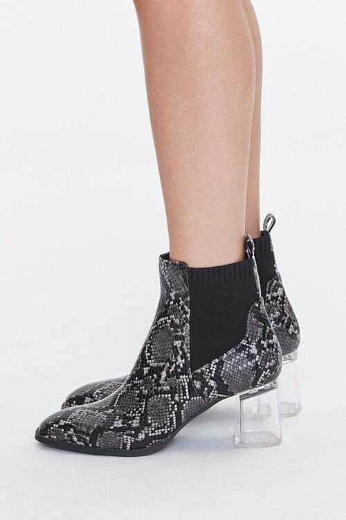 Faux Snakeskin Lucite Booties, image 2