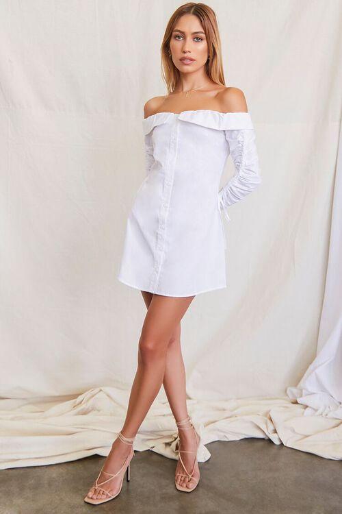 Foldover Trumpet Sleeve Shirt Dress, image 4