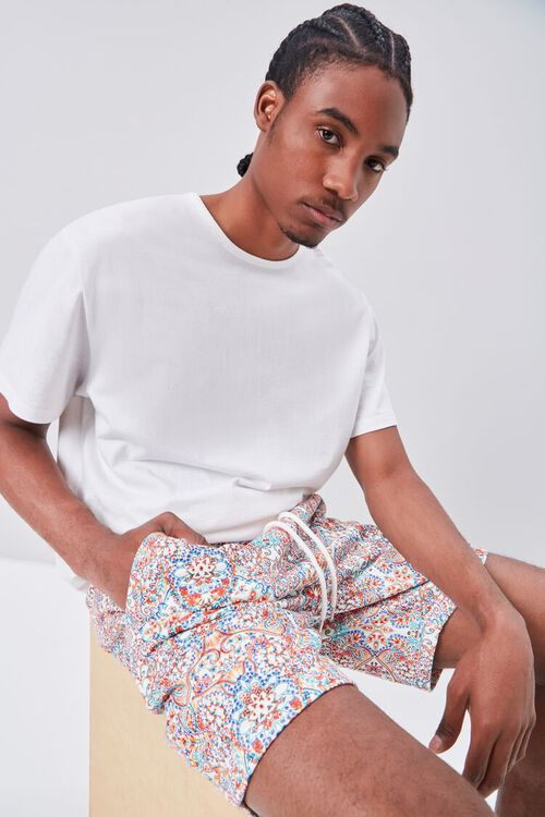 Ornate Print Drawstring Shorts, image 1