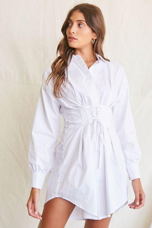 WHITE Lace-Up Shirt Dress, image 1