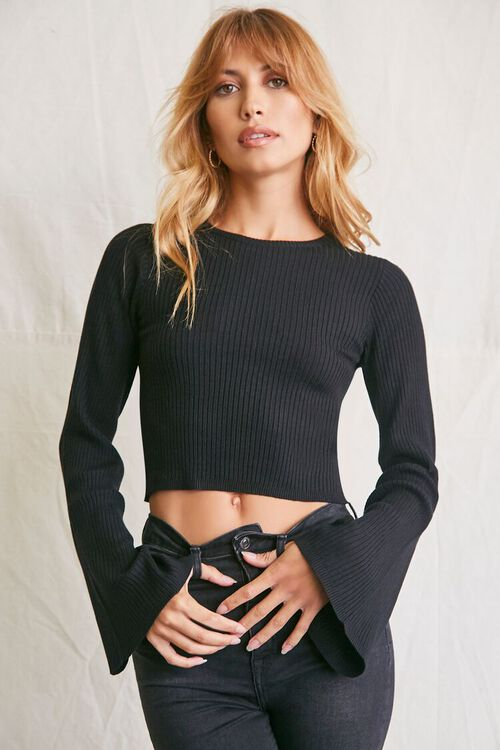BLACK Cropped Bell-Sleeve Sweater, image 1