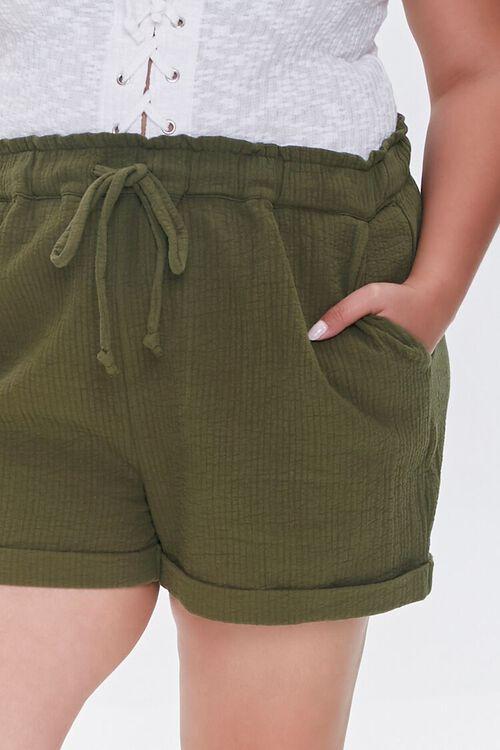 Plus Size Textured Drawstring Shorts, image 5