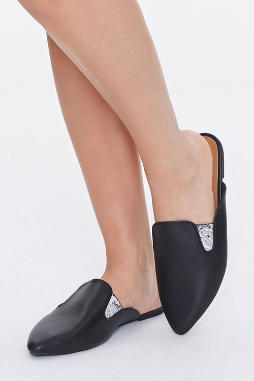 Faux Leather Metallic-Accent Mules, image 1