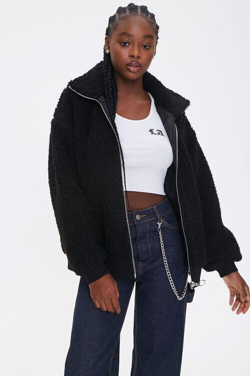 Faux Shearling Zip-Up Jacket, image 1