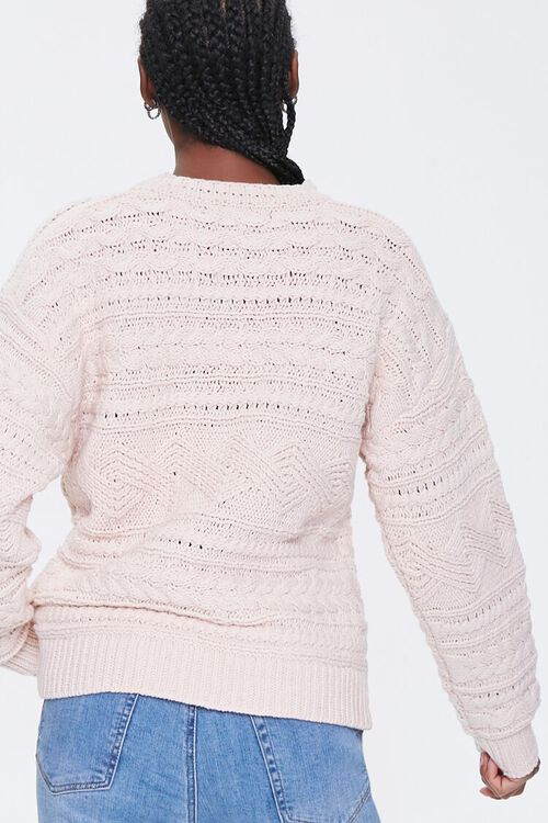 BLUSH Cable Knit Crew Sweater, image 3