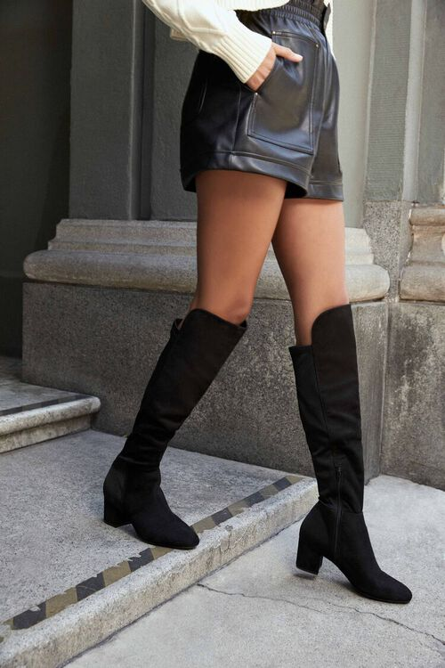 BLACK Faux Suede Knee-High Boots, image 1