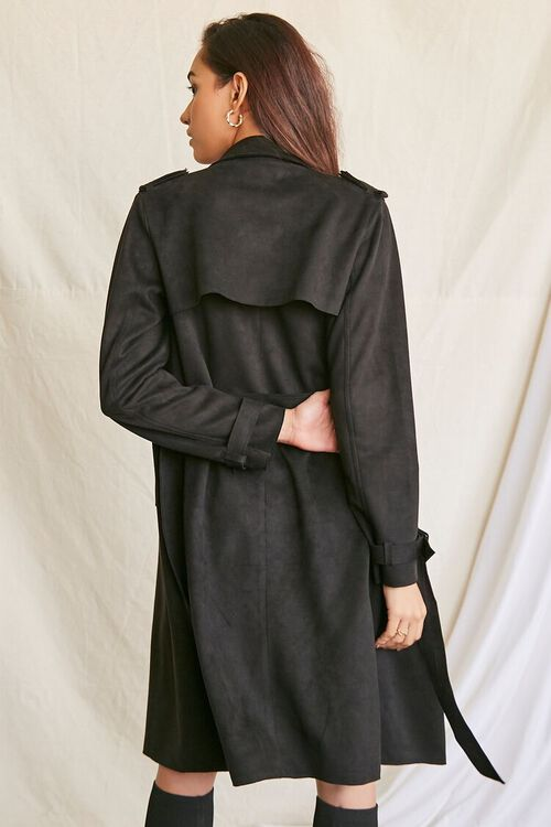 BLACK Faux Suede Duster Trench Jacket, image 3